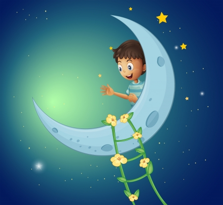 moon stars: Illustration of a young boy watching the ladder plant