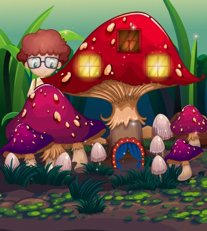 giant mushroom: Illustration of a boy at the back of the mushroom house Illustration