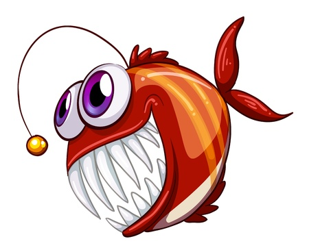 bulging: Illustration of an ugly angry fish on a white background