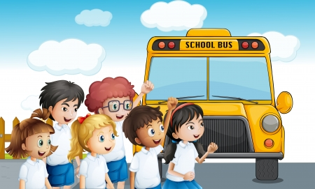 Illustration of the young students waiting for the schoolbus Vector
