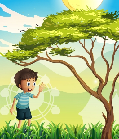 noontime: Illustration of a happy boy near the tree Illustration