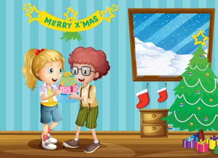 tied girl: Illustration of the two adorable kids exchanging their christmas gifts