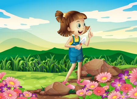 garden scenery: Illustration of a girl holding a shovel at the flower garden Illustration