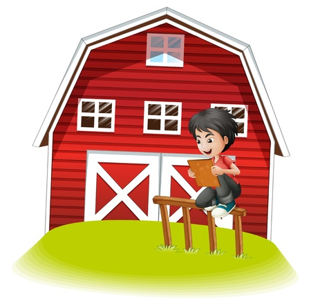 Illustration of a teenager reading near the barnhouse on a white background Stock Vector - 21426404