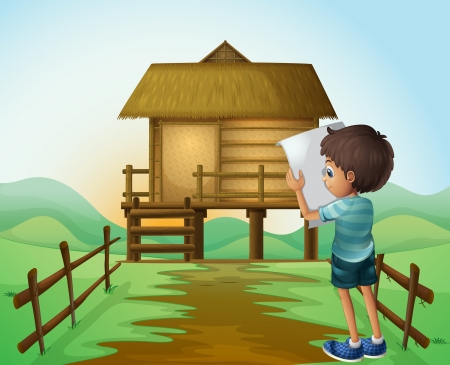 Illustration of a boy with a paper in front of the nipa hut Vector
