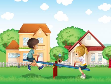 clouds cartoon: Ilustraci�n de los ni�os jugando en el parque en el pueblo Vectores