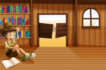 Illustration of a young boy reading inside the room with a swingdoor Vector