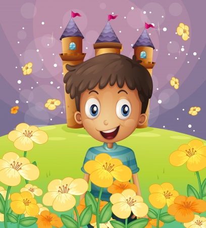 flaglets: Illustration of a happy boy in front of the castle at the hilltop