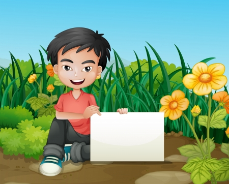 boy smiling: Illustration of a smiling boy holding an empty signage in the garden