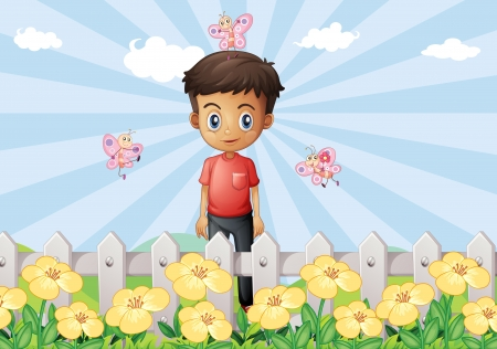 garden fence: Illustration of a boy in the garden with a fence