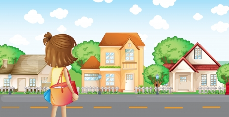across: Illustration of a girl with a bag across the neighborhood