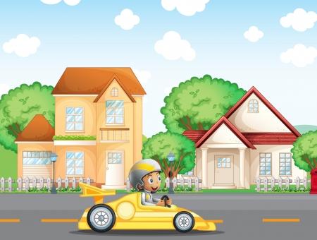 Illustratie van een jongen in zijn race-auto over de wijk