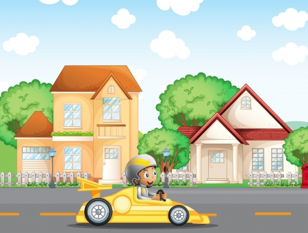 car: Illustration of a boy in his racing car across the neighborhood