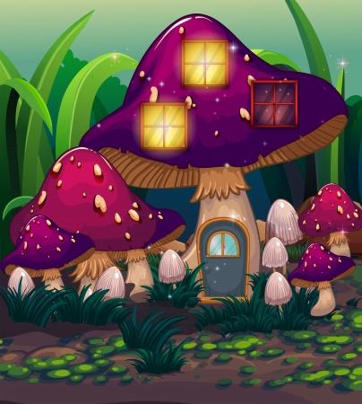 giant mushroom: Illustration of a purple mushroom house