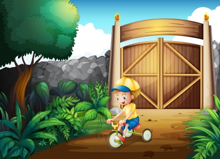 Illustration of a small child playing inside the gate Vector