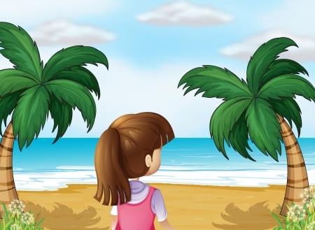 Illustration of a young lady watching the calm blue sea Vector