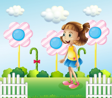 Illustration of a little girl near the wooden fence with giant candies Stock Vector - 21426819