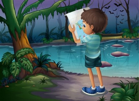 Illustration of a boy with a map standing in the middle of the forest Vector