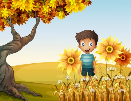 Illustration of a happy boy near the sunflowers Illustration