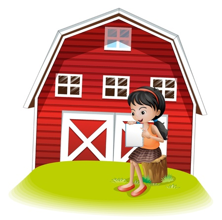 Illustration of a girl reading in front of the barnhouse on a white background Stock Vector - 21426828