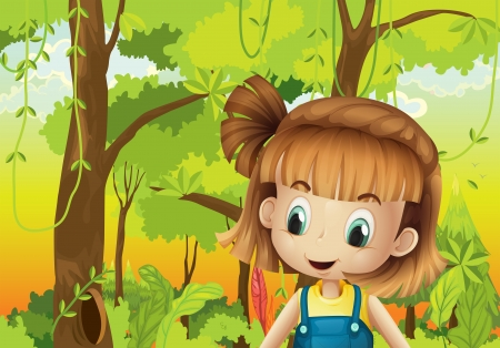 Illustration of a cute little girl in the forest Stock Vector - 21426833