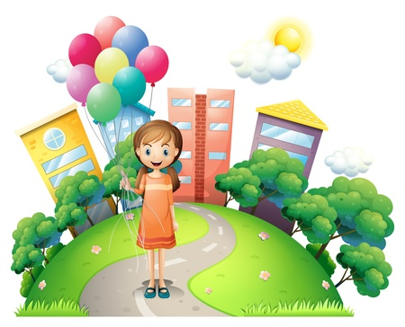 Illustration of a young lady in the middle of the road with balloons on a white background Vector