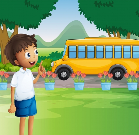 Illustration of a young boy ready for school Vector