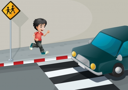 Illustration of a boy at the street waiting for the car Vector