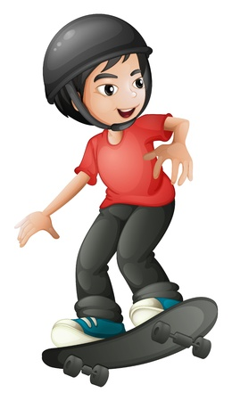 skateboard boy: Illustration of a boy skateboarding with a helmet on a white background Illustration