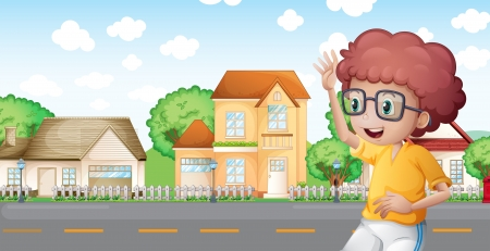 Illustration of a boy jogging in front of the neighborhood Vector