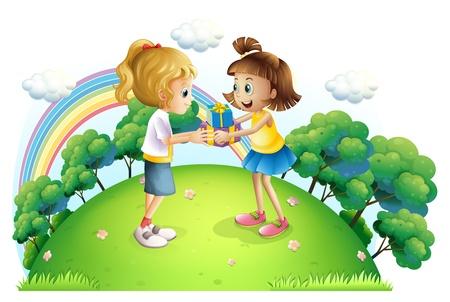 Ilustración de las dos chicas intercambio de regalos en la cima de una colina sobre un fondo blanco Foto de archivo - 21426872