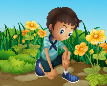 Illustration of a sad boy near the blooming flowers Vector