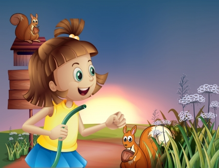 Illustration of a young girl at the hilltop with a water hose Vector
