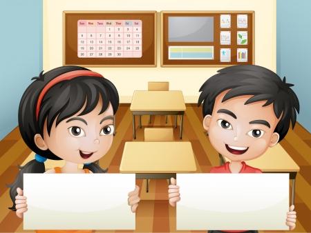 school agenda: Ilustración de los dos adolescentes sonrientes con signages vacías