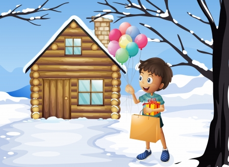 occassion: Illustration of a boy holding a bag and balloons
