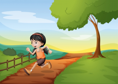 Illustration of a girl running hurriedly at the hill Vector