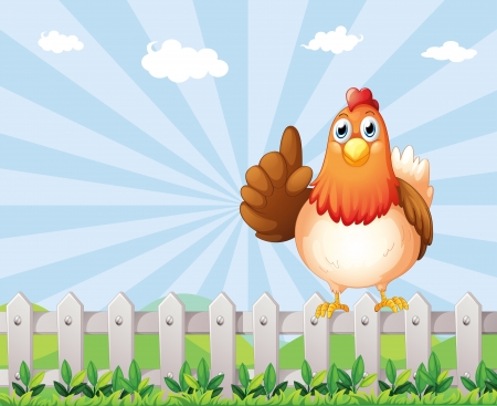 Illustration of a big fat hen above the fence Vector