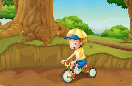 cartoon biker: Illustration of a child playing at the ground