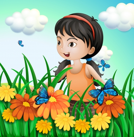 elongated: Illustration of a girl in the garden with butterflies