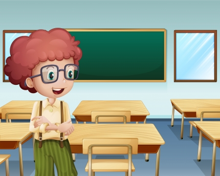 smart kid: Illustration of a boy inside the classroom