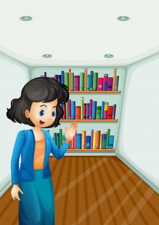 Illustration of a teacher presenting the books in the bookshelves Stock Vector - 21426911
