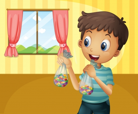 wall angle corner: Illustration of a boy holding two packs of bean candies