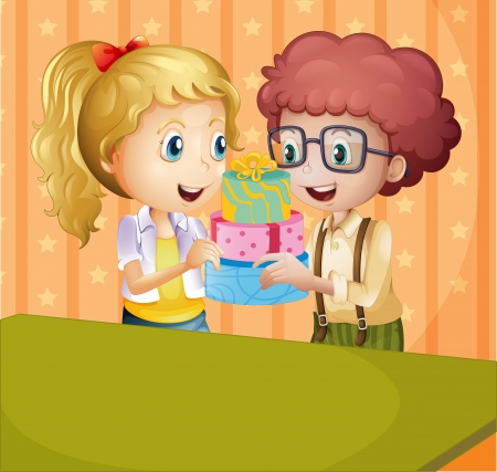 hair tied: Illustration of a girl and a boy holding gifts Illustration