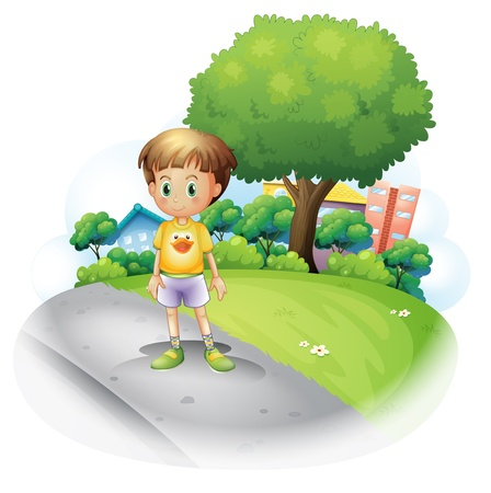 one child: Illustration of a little boy at the road across the high buildings on a white background