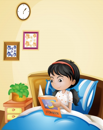 read book: Illustration of a young lady reading a storybook in her bed