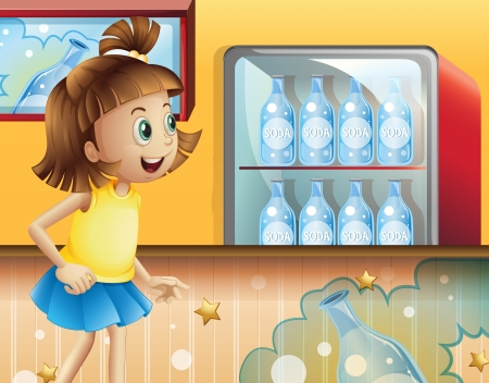 ref: Illustration of a happy young girl inside the store selling sodas