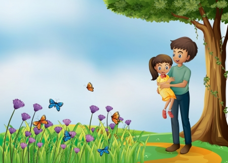 Illustration of a girl and his father at the hilltop Vector