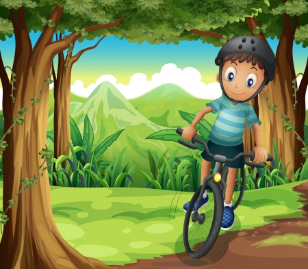 Illustration of a boy biking in the middle of the forest Stock Vector - 21426922
