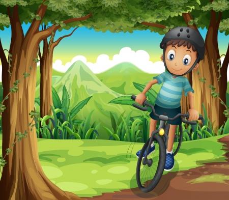 niños en bicicleta: Ilustración de una bicicleta de niño en el medio del bosque