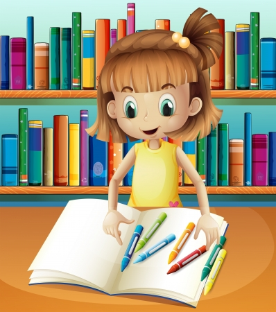 storyteller: Illustration of a girl with her empty notebook and crayons standing in front of the bookshelves